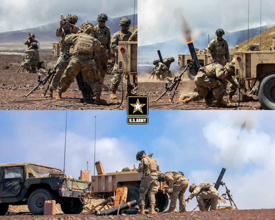 April 24, 2021 - U.S. Army mortarmen assigned to 3rd Squadron, 4th Cavalry Regiment, 3rd Infantry Brigade Combat Team, 25th Infantry Division fire 120mm mortar rounds during a fire mission in support of mounted live-fire lanes at Pohakuloa Training Area, Hawaii. (Image created by USA Patriotism! from U.S. Army photos by Staff Sgt. Alan Brutus.)