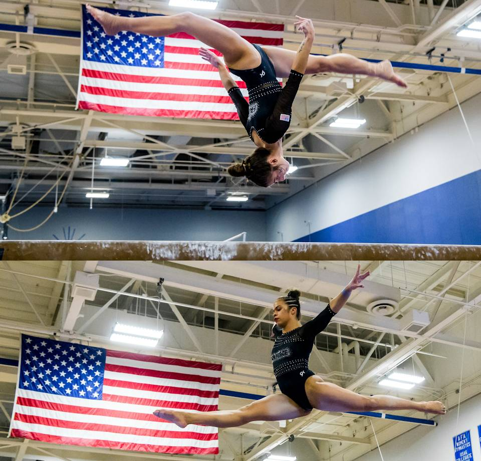 March 5, 2021 - U.S. Air Force Academy Gymnastics' Cam Barber performs on the balance beam with Old Glory in the background during a Mountain Pacific Sports Federation Dual against San Jose State at the Academy's West Gym in Colorado Springs, Colorado. Air Force defeated San Jose. (Image created by USA Patriotism! from U.S. Air Force photos by Trevor Cokley.)