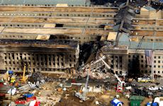 The Pentagon shortly after terrorists flew the hijacked airliner into it on Septemper 11, 2001.