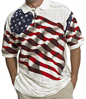 American Flag Polo Shirt with Declaration of Independence
