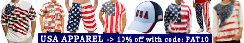 USA / Americana theme ... polo shirts, t-shirts, shorts, hats, caps, swimwear, sweatshirts, hoodies, hats, jackets, under garments, and other apparel items