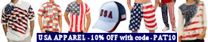10 % off with code ... PAT10 ... on USA theme polo shirts, t-shirts, shorts, hats, caps, swimwear, sweatshirts, hoodies, hats, jackets, under garments, and other apparel items