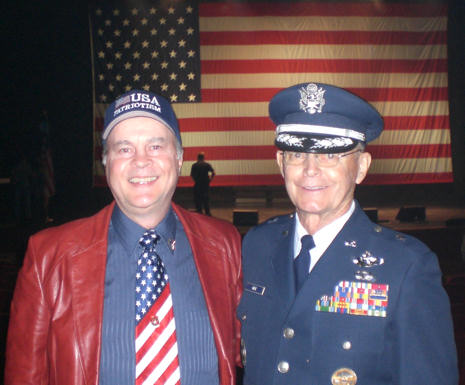 Branson, MO (November 11, 2010) -- David Bancroft, USA Patriotism! founder, with Air Force Brigadier General Paul Maye at the Branson Veterans Week closing ceremony, where the General gave an inspiring speech honoring the veterans for their military service. Photo by USA Patriotism!