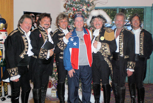 David Bancroft, USA Patriotism! founder, visits with Paul Revere (with hat) and the Raiders after their entertaining show on November 5, 2010 and during Branson Veterans Week.