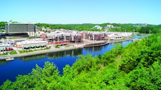 Overlook of Branson Landing and the historical downtown area bordering Lake Taneycomo