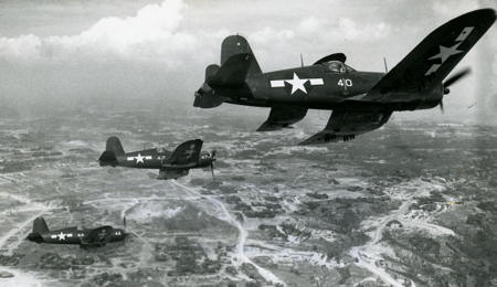 Vought F4U-1s of Marine Fighter Attack Squadron 323 fly a mission in the Pacific in 1944. Prior to World War II, amphibious operations were reliant upon battleships for naval gunfire support. Though the battleship continued to play a role, the versatility of aircraft would contribute to the battleship being phased out of service by the early 21st century.  Historical Photo, 12/30/1944