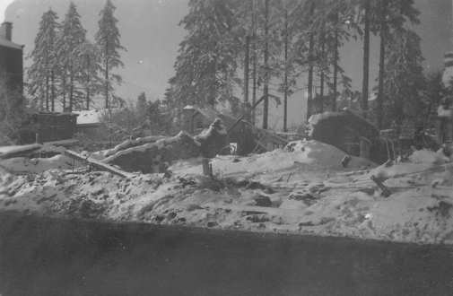 The aid station where Augusta Chiwy volunteered on the Rue Neaufchateau in Bastogne, Belgium, was destroyed by German bombs on Christmas Eve 1944, killing 30 American soldiers. U.S. Army photo
