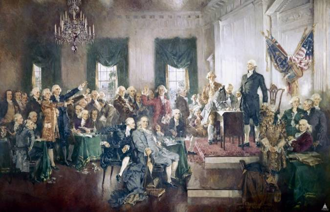 the congressional observance of the Constitution's sesquicentennial. Completed in 1940, the 20-by-30-foot framed oil-on-canvas scene is among the best known images in the United States Capitol. It is on display in the east grand stairway of the House wing. Photo courtesy of Architect of the Capitol