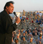Wayne Newton entertaining the troops  in Iraq