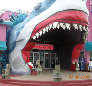 souvenir store with shark mouth entrance in Biloxi, MS a month before Hurricane Katrina hit.
