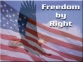 """Freedom by Right"" image by Kaustubh S. Mahajani . . . showing a flying eagle with USA flag and sky background."