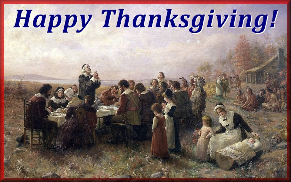 Pilgrimsa and Wampanoag Tribe celebrate first Thanksgiving. (Image created by USA Patriotism!)