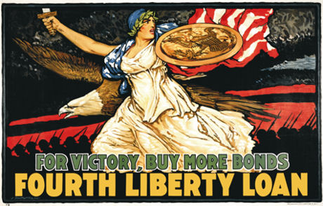 "For Victory, Buy More Bonds. Artist: J. Scott Williams.United States Treasury Department, Fourth Liberty Loan, 1918... One of the most dramatic and powerful images of World War I, this poster was created by artist J. Scott Williams. Asked about the creative process for this poster, the artist explained, ""I wish to visualize, if possible, in a poster expression, the dynamic energy of the American people and to help a bit to communicate to every American the idea of victory."""
