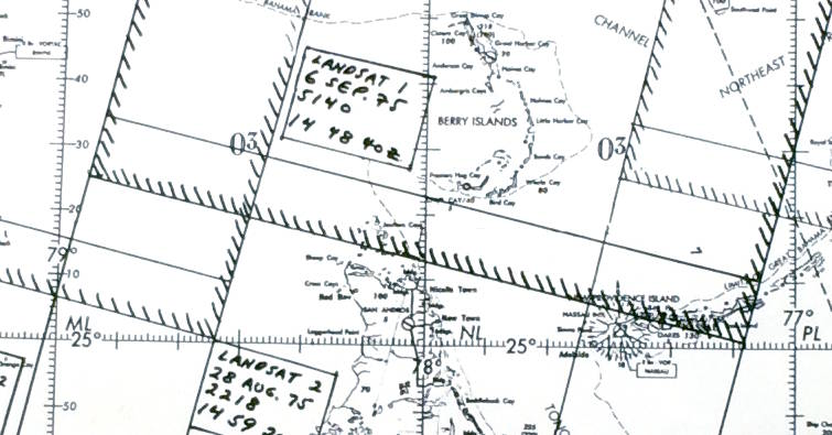 A detail from the planning map used for the 1975 NASA-Cousteau Bathymetry Experiment showing the Berry Islands. The hatched lines show the location of Landsat scene edges. (Image by NASA)