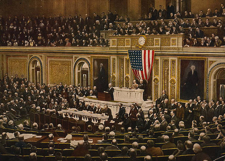 President Woodrow Wilson asks Congress to declare war on Germany, April 2, 1917. (Library of Congress photo)