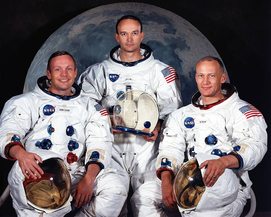 "The Apollo 11 astronauts, from left, Neil A. Armstrong, commander; Michael Collins, command module pilot; and Edwin E. ""Buzz"" Aldrin Jr., lunar module pilot. (NASA courtesy photo)"