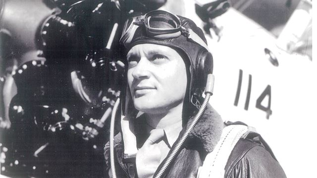 "Robert ""Bob"" Klingman flew his F4U Corsair with Marine Fighter Attack Squadron 312 in support of the Battle of Okinawa near the close of World War II. During operations he flew into Marine Corps history when he used his propeller to chop off the tail of Japanese aircraft. (U.S. Marine Corps courtesy photo)"