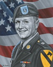 An illustration of U.S. Army Sgt. Blake A. Harris that was sketched shortly after he was killed in action in Baqubah, Iraq, March 5, 2007, by a command detonated improvised explosive device. Harris died while providing support as part of a security detail to VIPs.
