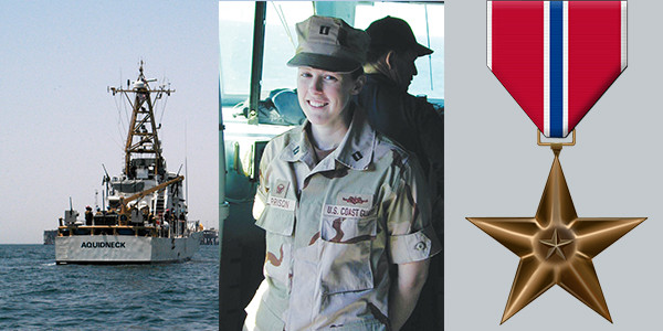 (U.S. Coast Guard courtesy image with Lt. Holly Harrison, Cutter Aquidneck, and Bronze Star Medal)
