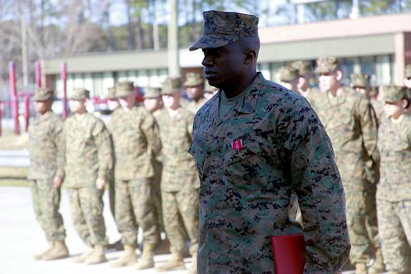 1st Sgt. Reginald Daniels receives the Bronze Star December 14, 2012 during a special ceremony at Marine Wing Communications Squadron 28 headquarters at Marine Corps Air Station Cherry Point, N.C. Photo by USMC Cpl. Brian Adam Jones