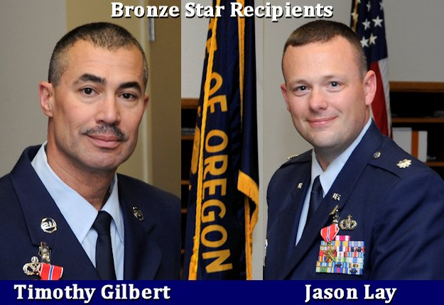 Oregon Air Guardsmen Chief Master Sgt. Timothy Gilbert and Lt. Col. Jason Lay received Bronze Star Medals for their meritorious service during deployment in 2014 (April 20 - Oct. 14) to Bagram Airfield, Afghanistan, in support of operations Enduring Freedom and Resolute Support. (Image created by USA Patriotism! from photos by U.S. Air National Guard Staff Sgt. Brandon Boyd)