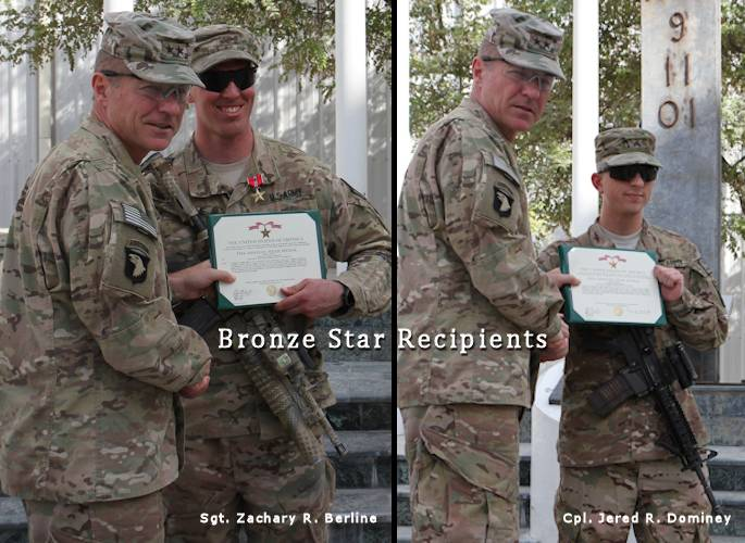 "U.S. Army Maj. Gen. James C. McConville, commanding general, Combined Joint Task Force - 101 and Regional Command East, presents Sgt. Zachary R. Berline (2nd left) and Cpl. Jered R. Dominey (far right), with the Bronze Star Medal with ""V"" device during an awards ceremony on September 18, 2013 at the main courtyard of the RC-East Joint Operations Center at Bagram Air Field, Afghanistan. (U.S. Army photos by Sgt. Mark A. Moore II combined by USA Patriotism!)"
