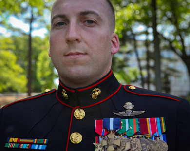USMC Gunnery Sgt. Brian M. Blonder was awarded the Navy Cross, the second highest award given for valor in the face of danger, during a ceremony at the Marine Corps War Memorial in Arlington, Va., May 10, 2011.