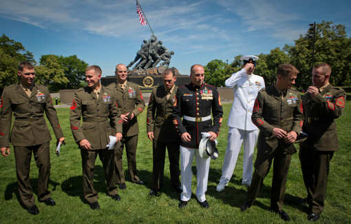 Marines with 1st Reconnaissance Battalion joined USMC Gunnery Sgt. Brian M. Blonder at the Marine Corps War Memorial in Arlington, Va., May 10, 2011, when he was awarded the Navy Cross.