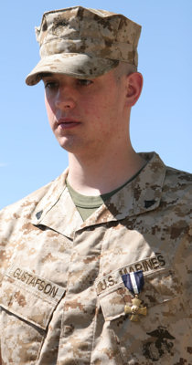 Corporal Brady A. Gustafson, 21, an infantryman with 2nd Battalion, 7th Marine Regiment, was meritoriously promoted to his current grade and awarded the Navy Cross during a ceremony March 27, 2009 aboard Marine Corps Air Ground Combat Center Twentynine Palms, CA.