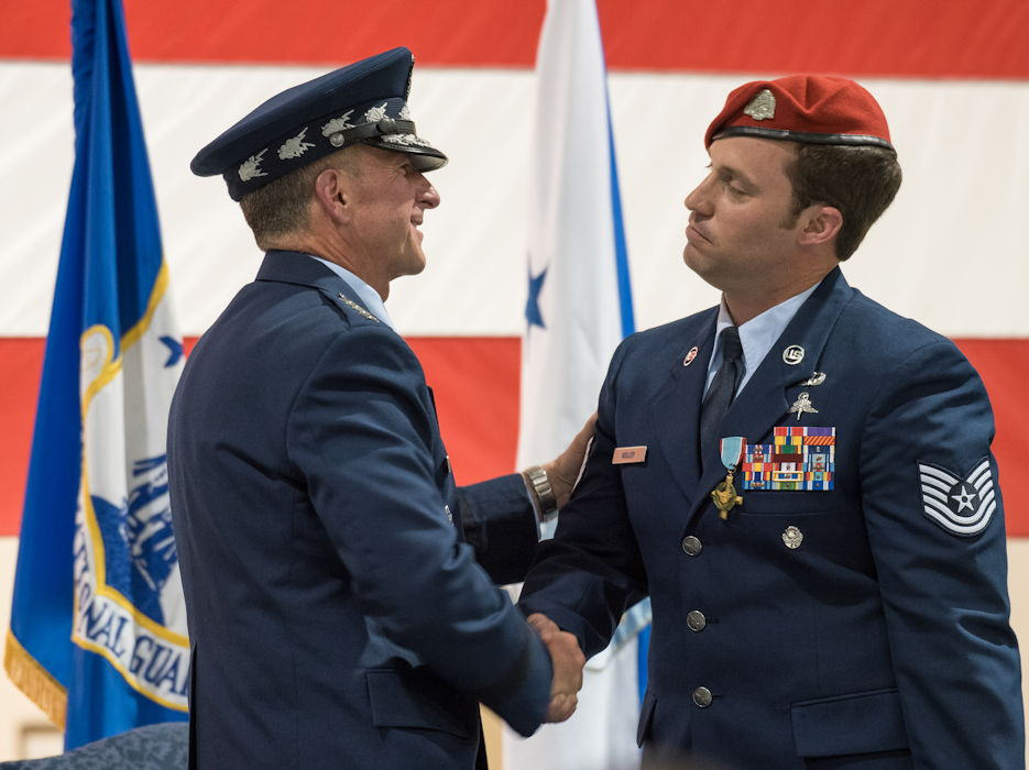 September 13, 2019 - Air Force Chief of Staff Gen. David L. Goldfein (left) shakes hands with Tech. Sgt. Daniel Keller, a combat controller in the 123rd Special Tactics Squadron, during a ceremony at the Kentucky Air National Guard Base in Louisville, KY. Earlier in the ceremony, Goldfein presented Keller with the Air Force Cross, which Keller earned for valor on the battlefield in Afghanistan. (U.S. Air National Guard photo by Dale Greer)