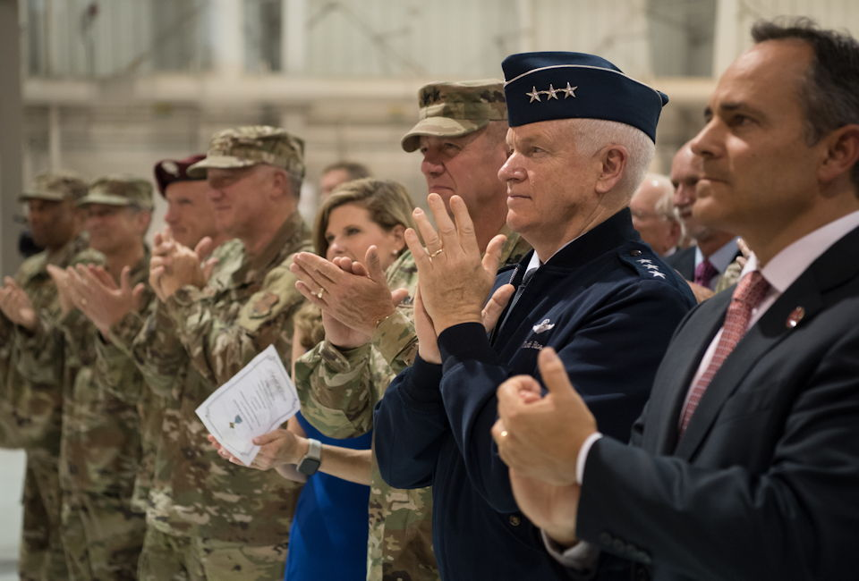 September 13, 2019 - Kentucky Gov. Matt Bevin (far right), Lt. Gen. L. Scott Rice (second from right), director of the Air National Guard, and Army Maj. Gen. Stephen R. Hogan (third from right), adjutant general of the Kentucky National Guard, applaud Tech. Sgt. Daniel Keller, a combat controller in the 123rd Special Tactics Squadron, during his Air Force Cross Medal ceremony at the Kentucky Air National Guard Base in Louisville, KY. (U.S. Air National Guard photo by Staff Sgt. Joshua Horton)