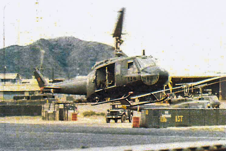 "A UH-1H helicopter, piloted by U.S. Army Warrant Officer Danne Smith, lifts off for a mission in Vietnam in the early 1970s. The war veteran survived being shot down six times and received three Air Medals with ""V"" devices, three Bronze Stars and two Silver Stars during his tour in Vietnam.(Courtesy photo by Danne Smith)"