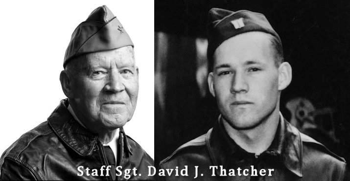 Staff Sgt. David J. Thatcher was an engineer gunner in Flight Crew 7 of the Doolittle Tokyo Raids during World War II. His crew crash-landed into sea off the coast of China on April 18, 1942. He received full military honors during a funeral service June 27,2016 in Missoula, Montana. (Image created by USA Patriotism! from courtesy photos)