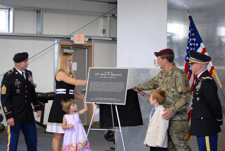 May 24, 2016 - Family members of Capt. Aaron Blanchard unveil the plaque designed in his honor after he made the ultimate sacrifice. (U.S. Army photo by Capt. Linda Gerron)