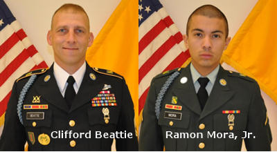 Army Sgt. 1st Class Clifford Beattie and Army Pfc. Ramon Mora Jr.