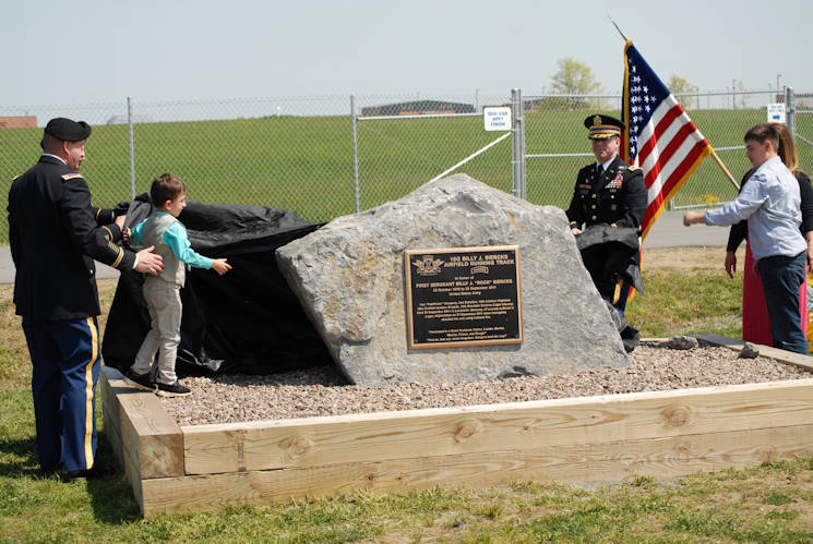 May 24, 2016 - Family members of 1st Sgt. Billy J. Siercks unveil the plaque designed to honor him after he made the ultimate sacrifice.  (U.S. Army photo by Capt. Linda Gerron)