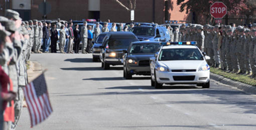 Thousands of servicemembers lined the streets to pay their last respects to a fallen Airman Nov. 18, 2010, at Shaw Air Force Base, S.C. . Staff Sgt. Andrew Bubacz, a native of Dalzell, S.C., died Nov. 12, 2010, while deployed to Nuristan, Afghanistan on a provincial reconstruction team. Sergeant Bubacz was a 97th Communications Squadron at Altus Air Force Base, Okla. U.S. Air Force photo by Airman 1st Class Amber E. Jacobs