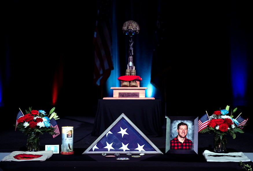 A memorial for U.S. Air Force Staff Sgt. Dylan Elchin, a Special Tactics combat controller with the 26th Special Tactics Squadron, is displayed during a service in Moon Township, Pennsylvania on December 6, 2018. Elchin was killed alongside two U.S. Army Special Forces members when their vehicle struck an improvised explosive device in Ghazni Province, Afghanistan on November 27, 2018. (U.S. Air Force photo by Senior Airman Joseph Pick)