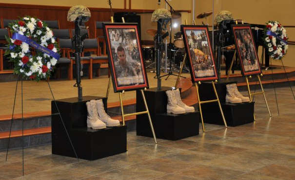 Memorial display for three fallen soldiers assigned to the 515th Engineer Company remembered at the Main Post Chapel Nov. 10, 2011. 1st Lt. Ivan Lechowich, Spc. Steven Gutowski and Pfc. David Drake died Sept. 28 in Afghanistan of injuries suffered when their vehicle was struck by an improvised explosive device while conducting route clearance. Photo by Army Sgt. Heather Denby