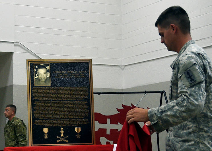 September 10, 2016 - A bronze plaque is unveiled during a command remembrance ceremony for Sgt. Ryan Jopek's memory, and also created an annual award for its enlisted Soldiers. (Wisconsin Department of Military Affairs photo by Vaughn R. Larson)