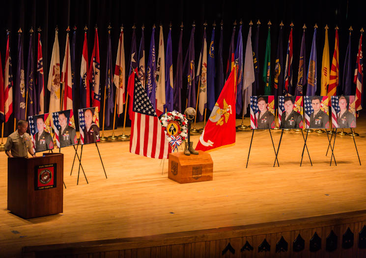August 31, 2017 - Maj. Gen. Carl E. Mundy III, U.S. Marine Corps Forces, Special Operations Command commander, gives a condolence speech during a celebration of life ceremony aboard Marine Corps Base Camp Lejeune, North Carolina. The ceremony honored the seven MARSOC service members lost July 10 in a KC-130T Hercules transport aircraft crash. The seven included Staff Sgts. Robert Cox and William Kundrat, Navy special amphibious reconnaissance corpsman, Petty Officer 1st Class Ryan Lohrey , and Sgts. Chad Jenson, Dietrich Schmieman, Joseph Murray and Talon Leach. (U.S. Marine Corps photo by Sgt. Salvador R. Moreno)