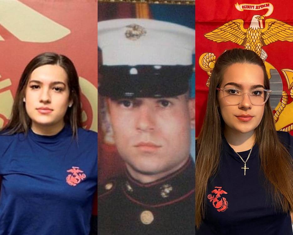 Twin sisters Laura and Adriana Cole joined the U.S. Marine Corps proudly following in their parents, Gina and Timothy, military footsteps and in honor of  their father who was killed in action while deployed to Iraq as part of Operation Enduring Freedom in 2006. (Image courtesy by Gina Pompeyo)