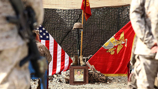 "A memorial is held in memory of Sgt. William C. Stacey, a Marine from Seattle, Wash., who was killed in combat in Now Zad District, Helmand Province, Afghanistan on January 31, 2012. Stacey served proudly with the ""Magnificent Bastards"" of 2nd Battalion, 4th Marines, 6th Marine Regiment. In a letter to his family, he wrote, ""If my life buys the safety of a child who will one day change the world, then I know it was all worth it."" Photo by USMC Staff Sgt. Robert Storm"