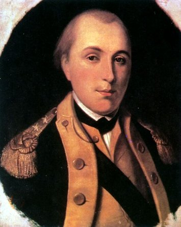 Lafayette in a uniform of major general of the Continental Army in 1777.