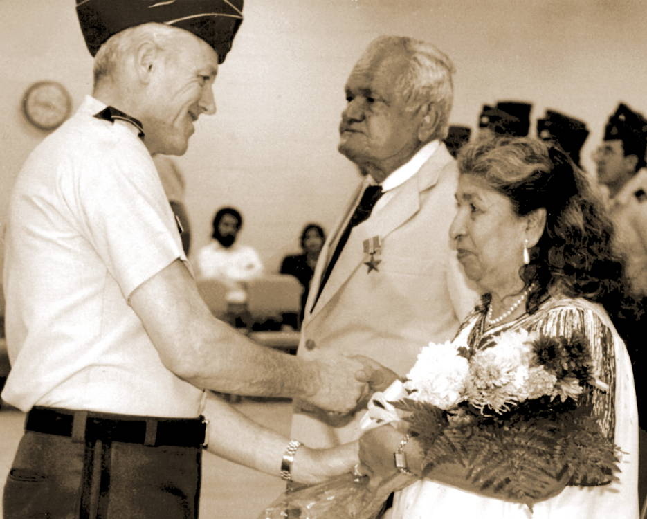 Fifty years after World War II, Maj. Gen. Ralph O. Doughty, former commanding general of the 90th U.S. Army Reserve Command, presented the Bronze Star to my father, Sgt. Joe G. San Miguel, at a ceremony in San Antonio on June 6, 1992 only a day after his 71st birthday. (Courtesy photo by U.S. Army David San Miguel)