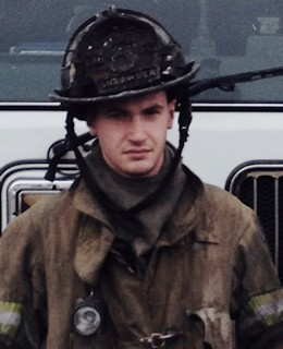 Matthew Shrawder, a firefighter for the Dunkirk Volunteer Fire Department, shortly after he helped save a woman from a house fire in Owings, Maryland, March 9, 2015. The 18-year-old native of Dunkirk, Maryland, is scheduled to attend Marine Corps Recruit Training sometime this summer. (Courtesy photo provided by Matthew Shrawder)