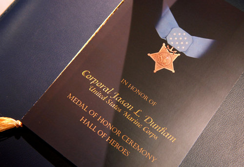 The family of U.S. Marine Cpl. Jason L. Dunham received the Medal of Honor from President Bush at the White House, Jan. 11, 2007. The following day he was posthumously inducted into the Pentagon Hall of Heroes.