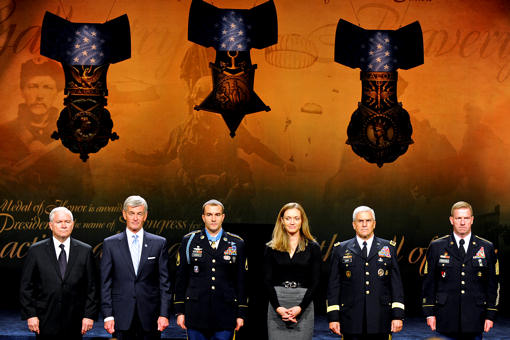 From left to right: Defense Secretary Robert M. Gates, Army Secretary John McHugh, Medal of Honor recipient Army Staff Sgt. Salvatore Giunta, his wife Jennifer Giunta, Army Chief of Staff Gen. George W. Casey Jr. and Sgt. Maj. of the Army Kenneth O. Preston listen to Giunta's citation during his induction ceremony into the Hall of Heroes at the Pentagon, Nov. 17, 2010. Giunta is the award's first living recipient since the Vietnam War. DOD photo by Cherie Cullen