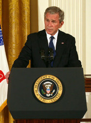President George W. Bush delivers remarks during the presentation of the Congressional Medal of Honor posthumously to Private First Class Ross A. McGinnis, U.S. Army Monday, June 2, 2008, in the East Room of the White House. President Bush presented the Congressional Medal of Honor posthumously to his parents, Tom and Romayne McGinnis, of Knox, Pennsylvania. (White House photo by Joyce N. Boghosian)