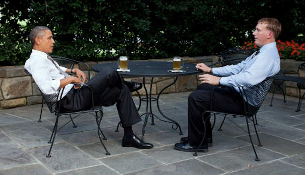 President Barack Obama enjoys a beer with Dakota Meyer on the patio outside of the Oval Office, Sept. 14, 2011. The President presented Meyer with the Medal of Honor tomorrow during a ceremony at the White House on Sept. 15, 2011. Official White House Photo by Pete Souza